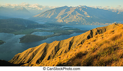 Breathtaking, Stunning Landscape View from Roys Peak on Lake Wanaka at twilight, South Island, New Zealand.