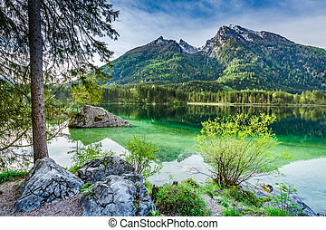 Breathtaking sunrise at Hintersee lake in Alps, Germany