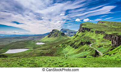 Breathtaking view from Quiraing in Isle of Skye, Scotland,...