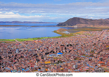 Breathtaking view of Puno by Titicaca lake. Peru.