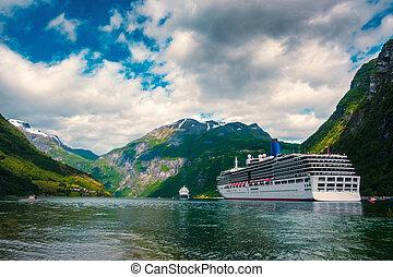 Breathtaking view of Sunnylvsfjorden fjord and cruise ship,...
