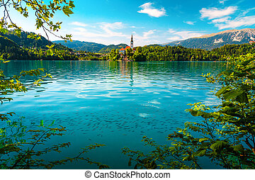 Breathtaking view with Pilgrimage church and lake Bled, ...
