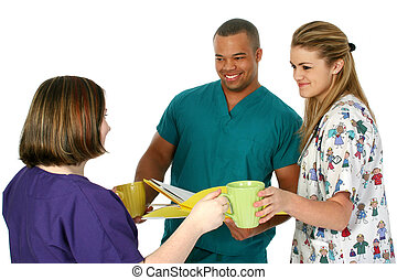 brechen, krankenschwester, bohnenkaffee, doktor