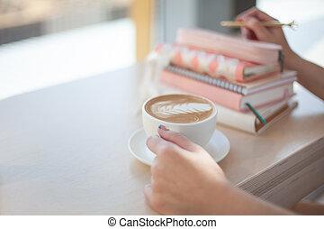 brechen, terminplan, latte, beweglich, hände, trinken, ...