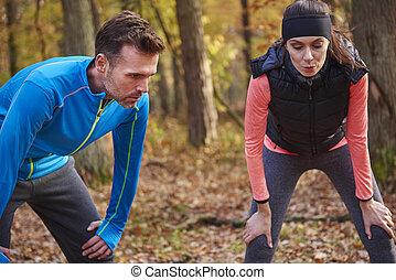 brechen, während, jogging, kurz