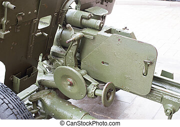 breech of Russian anti-tank regiment 57-mm gun of the Second...