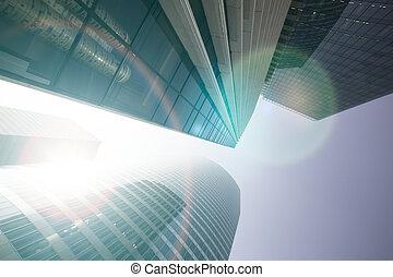 breed, concept, gebouwen., zakelijk, moderne, lens, aanzicht
