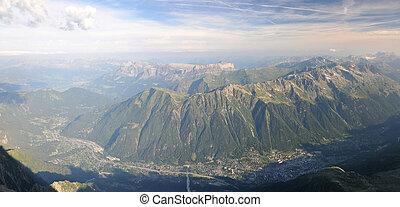 breed, du, berg, midi, aiguille, aanzicht, vallei, chamonix