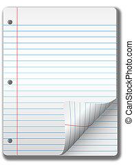 breed, gelinieerd, notitieboekje papier, pagina's, &,...