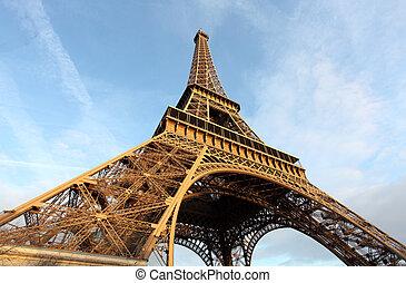 breed schot, hemel, eiffel, parijs, frankrijk, dramatisch, toren