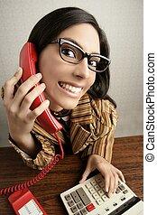breed, vrouw, humor, telefoon, retro, hoek, secretaresse