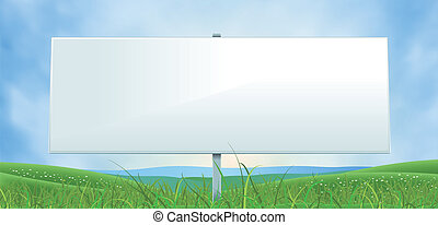 breed, zomer, lente, buitenreclame, witte , of