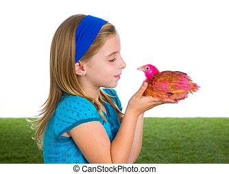 breeder hens kid girl rancher farmer with chicken chicks -...