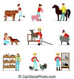 Breeding animals farmland. Farm profession worker people...