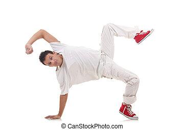 breek danser, het poseren