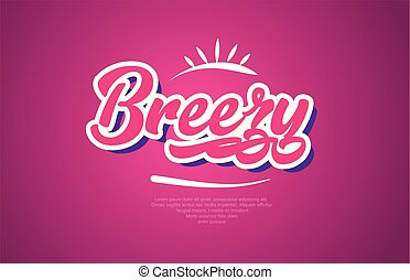 breezy word text typography pink design icon - breezy word...