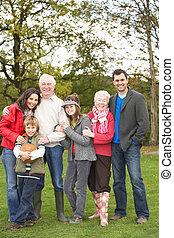 breidde uit, groep, gezin, platteland, wandeling, door
