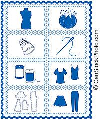 breien, naaiwerk, ambacht, haken, iconen