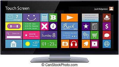 breit, touchscreen, monitor, mit, metro, schnittstelle