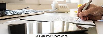 breit, unterzeichnung, panorama, vertrag, geschäftsmann, ansicht