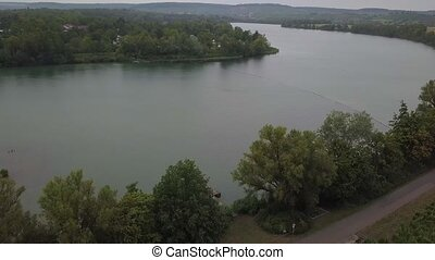 Breitenauer See (Lake Breitenau) at Loewenstein, Germany - the lake is closed for the public during the Corona Pandemic in August 2020.