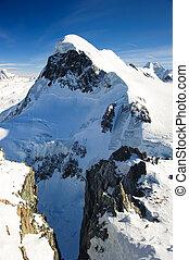 breithorn, montanha, peak., vista, de, kl., matterhorn, zermatt, suíça