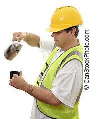breken, arbeider, koffie