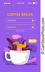 breken, beweeglijk, achtergrond, caffeine