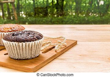 breken, koffie, achtergrond, /, cupcake
