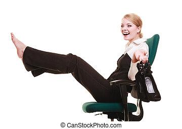 breken, van, work., businesswoman, relaxen, op, chair.