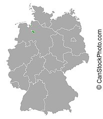 bremen, alemania, mapa