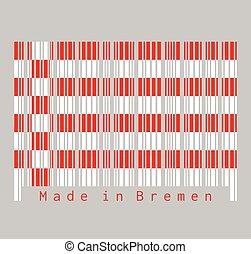 bremen, etats, blanc, ensemble, couleur, rouges, germany., drapeau, barcode, flag.