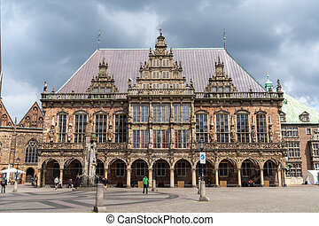 the historic city hall building in the old city center of Bremen
