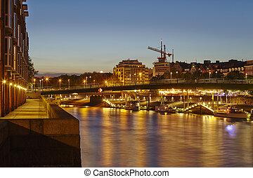 Bremen, Germany - River Weser, Teerhof and Schlachte-Riverside in the evening