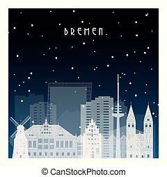 bremen., invierno, noche