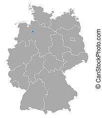 bremen, mapa, alemania