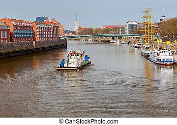 Bremen. River tugboat on the river Weser.