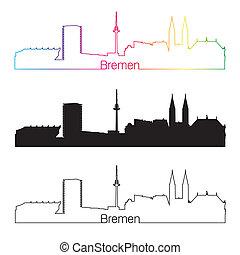 Bremen skyline linear style with rainbow