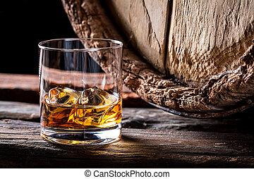 brendy, verre, glace, distillerie, sous-sol, bon