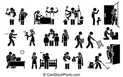 breng echtgenoot onder, stok, werkende , vrouw, icons., pictogram, gezin, figuur, kinderen, levensstijl