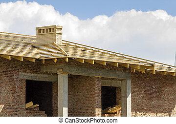 brengen vensterraam onder, detail, helder, dak, hout, concept., twee, schoorstenen, wederopbouw, onder, nieuw, witte baksteen, gebouw, close-up, natuurlijke , sky., houten, tegen, materialen, professioneel, construction.