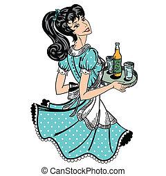 brengt, bier, retro, waitress, order