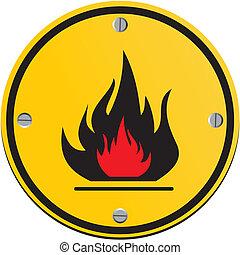 brennbar, runder , gelbes zeichen
