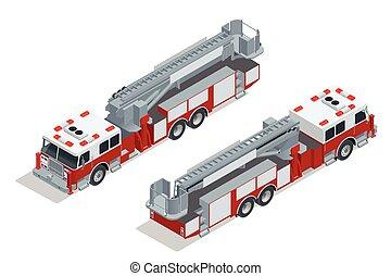 brennen lastwagen, isolated., feuer, unterdrückung, und, opfer, assistance., wohnung, 3d, isometrisch, hoch, qualität, stadt, transport, icon.