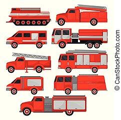 brennen lastwagen, satz, rettungsfahrzeuge, seitenansicht, vektor, illustrationen, auf, a, weißer hintergrund