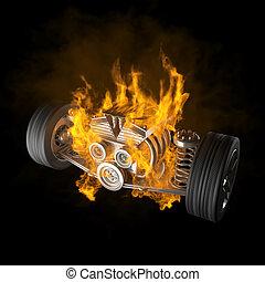 brennender, auto, chassis, mit, motor, und, räder