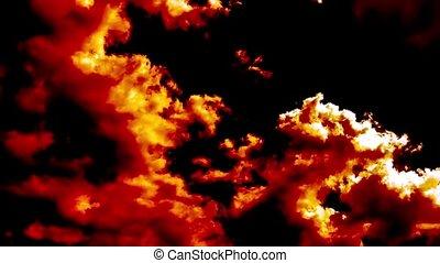brennender, blasen, hölle, feuer, wolkenhimmel, zeit-...