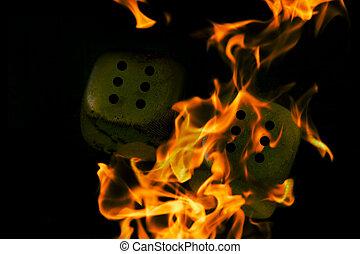 brennender, cubes., spielwürfel, in, der, feuer