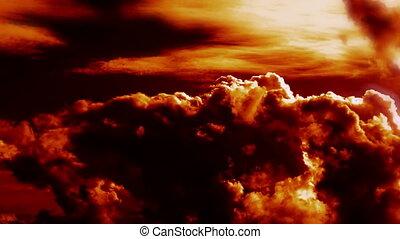 brennender, episch, blasen, wolkenhimmel, feuer