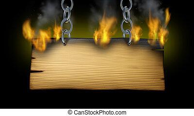 brennender, holzschild